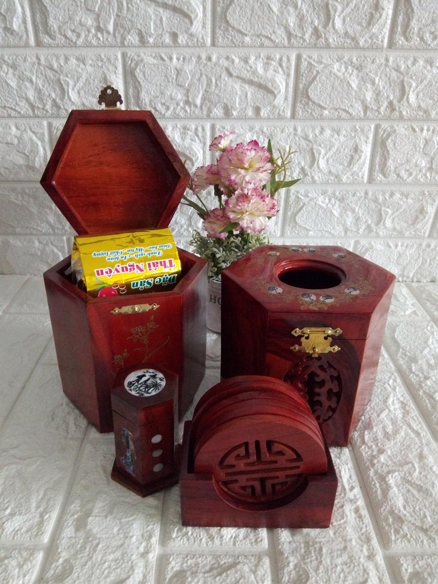 Bộ bốn món tiện ích hộp trà lớn,hộp khăn giấy lục lăng ,lót ly khảm,hộp tăm - 4MLL03