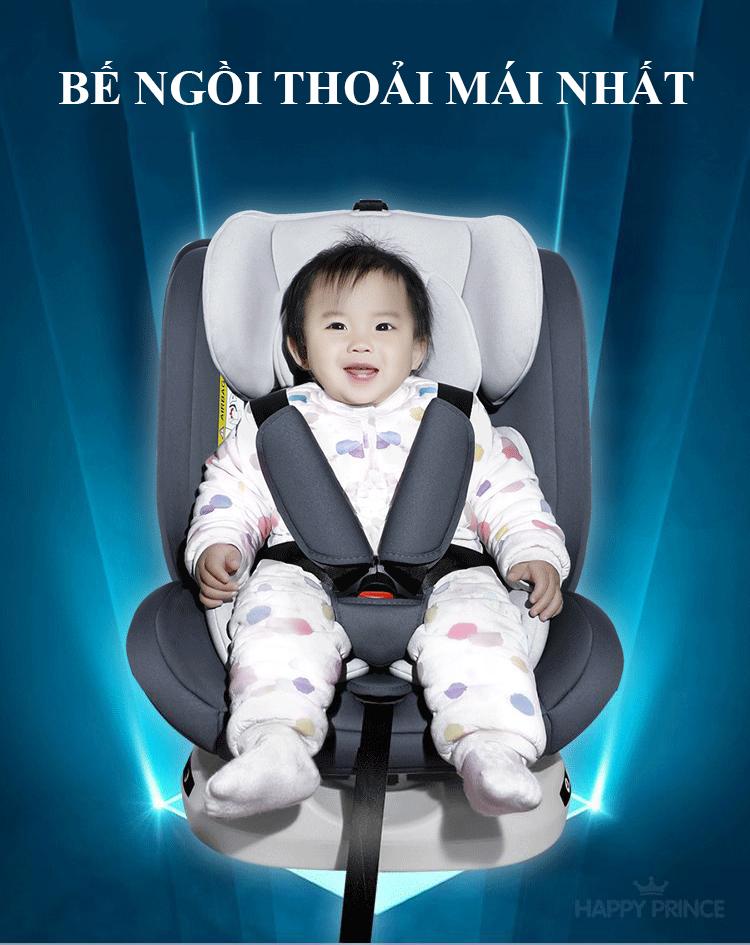Ghế ô tô 2 chiều CHUẨN ISO 9001, điều chỉnh 4 tư thế từ nằm tới ngồi và có thể điều chỉnh độ cao 7 cấp cho bé từ 0-12 tuổi (xám) 12