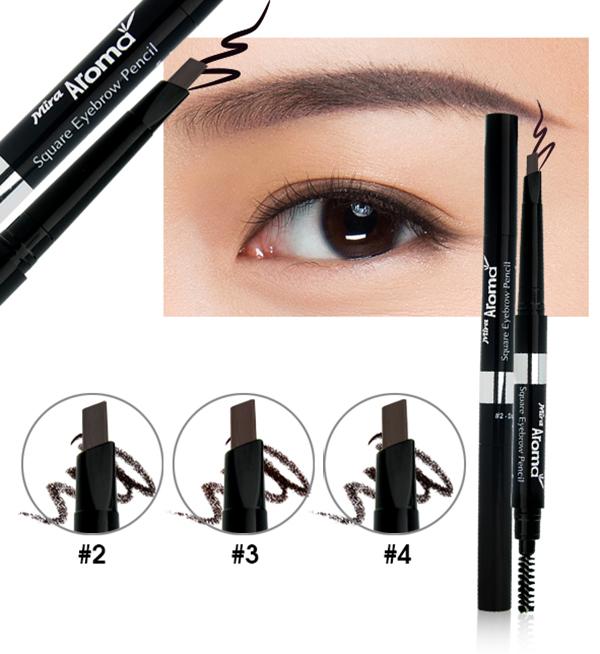 Chì mày định hình Mira Aroma Square Eyebrow Pencil No.2 tặng kèm móc khoá