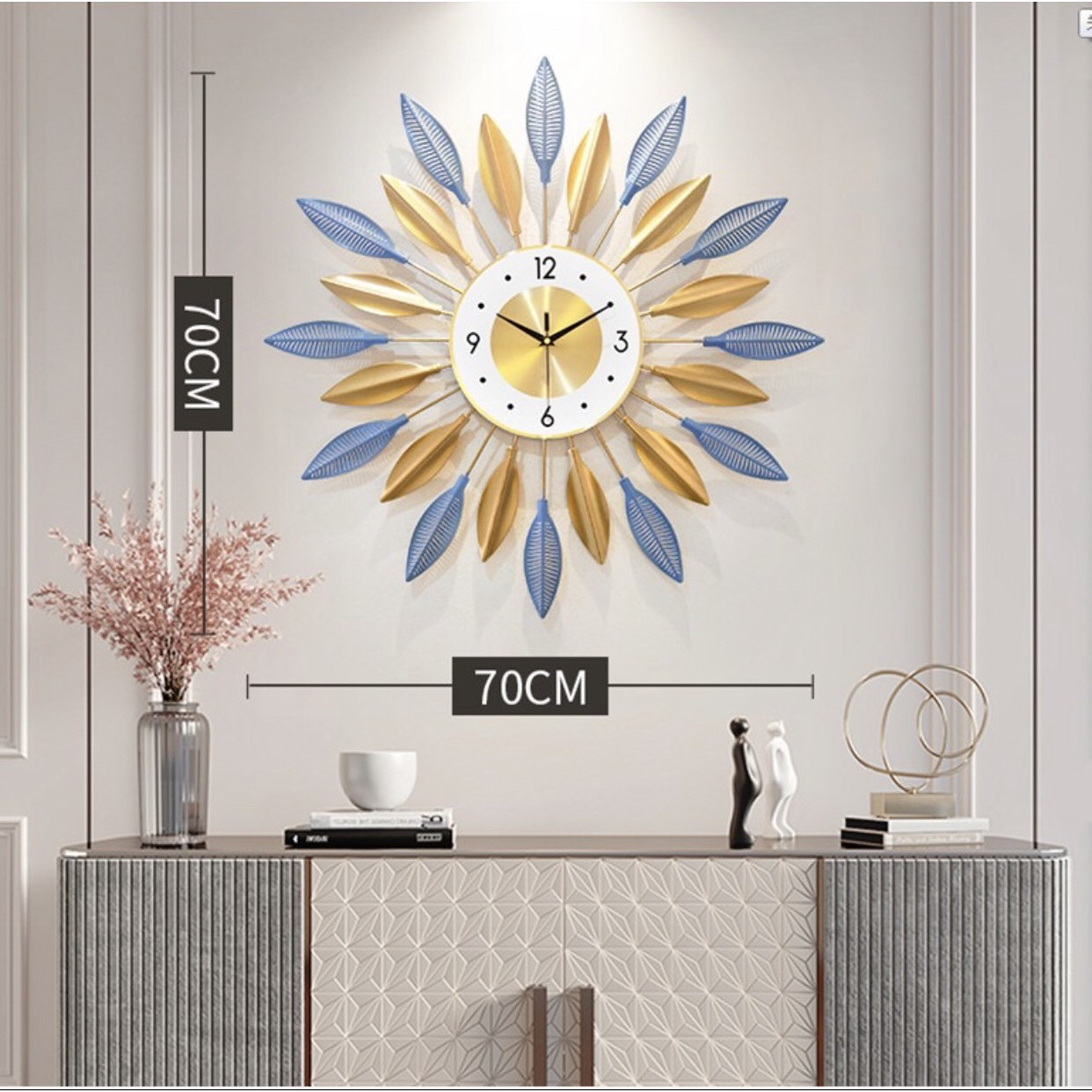 Đồng hồ treo tuong hình cách hoa nâu DH573