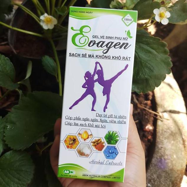 Gel vệ sinh phụ nữ EVAGEN chai 150ml- Duy trì pH tự nhiên.  Ngăn ngừa viêm nhiễm, nấm ngứa . Giúp sạch, khử mùi hôi