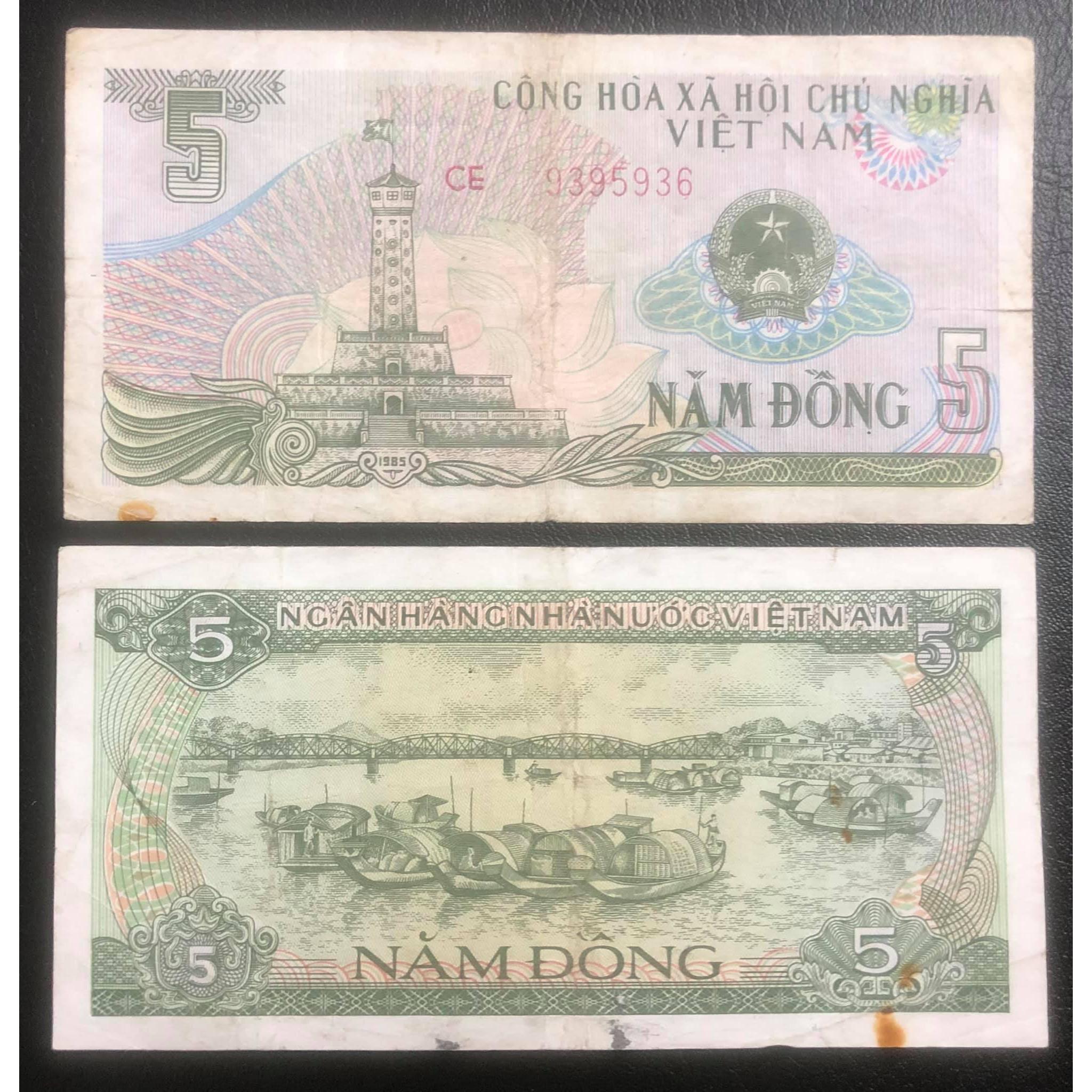 Tờ 5 đồng 1985 Cầu Tràng Tiền ở Huế, tiền xưa bao cấp sưu tầm