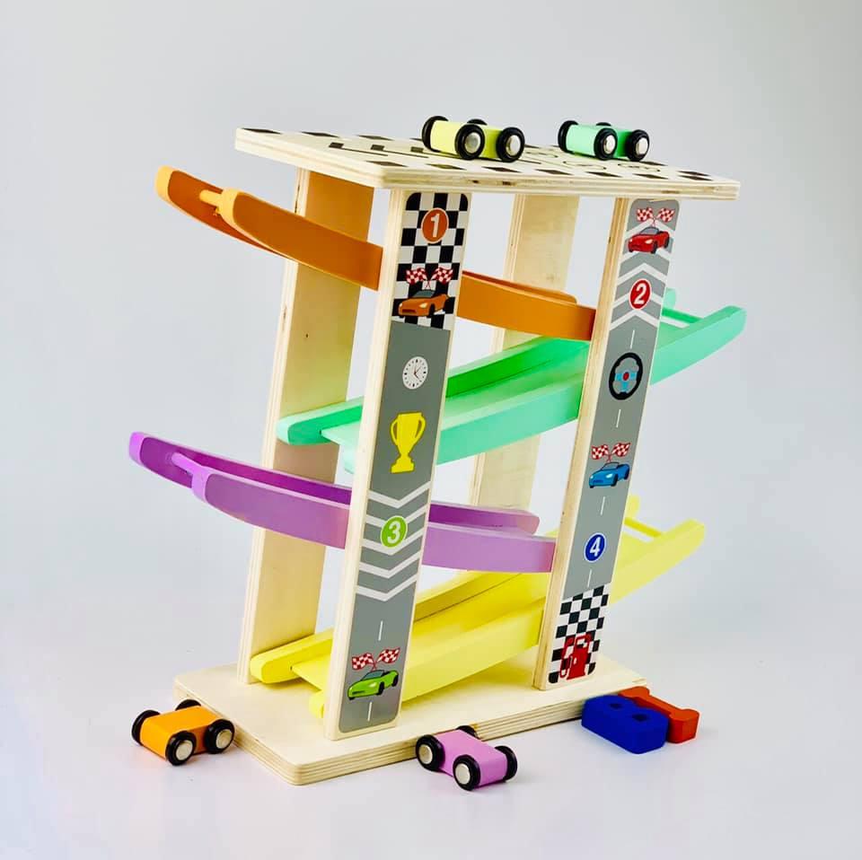 Cầu trượt ô tô 4 tầng - đồ chơi gỗ