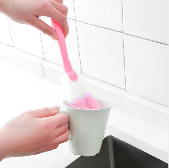 Bộ 2 Cây Cọ Rửa Cốc Chén Ly Bình Sữa Hàng Chất Lượng Cao - (Màu ngẫu nhiên+ tặng kèm móc dán tường)