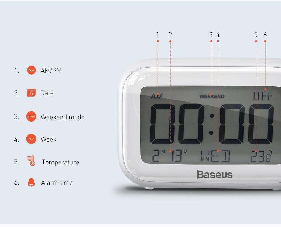 Đồng hồ để bàn thông minh ( báo thức, nhiệt độ môi trường ) Subai Baseus - Hàng chính hãng