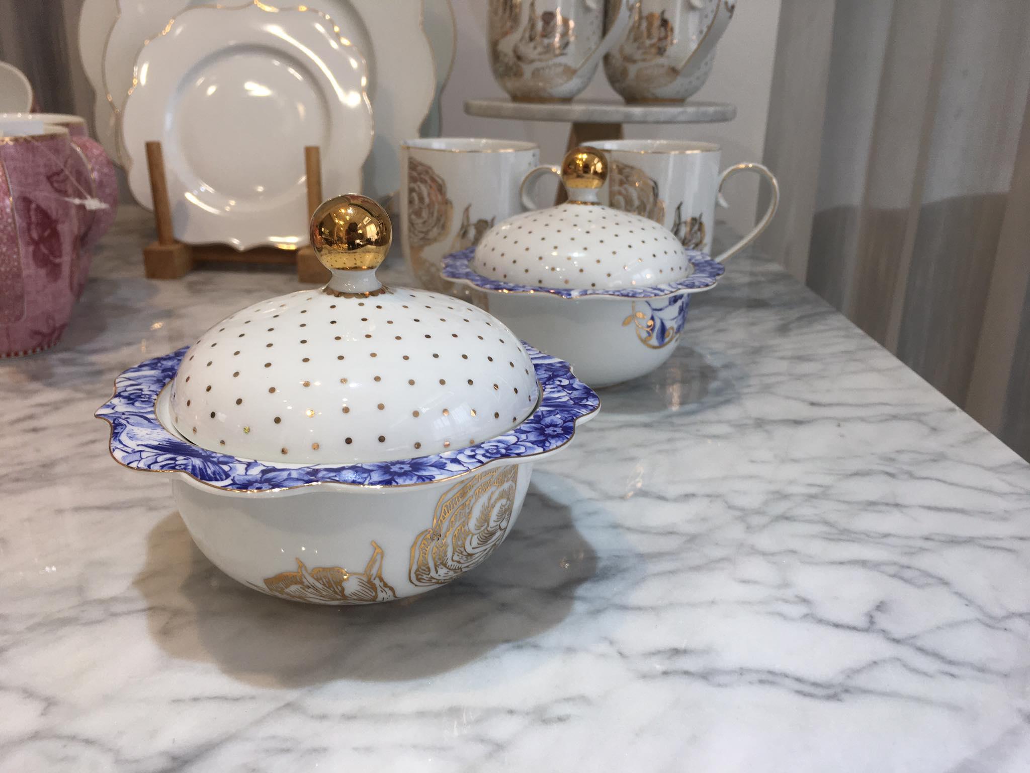 Thố sứ có nắp đựng mứt kẹo, gia vị cao cấp - Pip Royal bowl