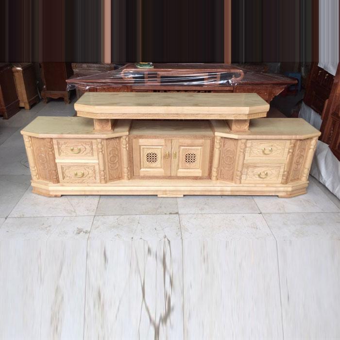 Kệ tivi tân cổ điển gỗ sồi nga 2m hàng chuẩn cao cấp thích thợp cho mọi gia đình
