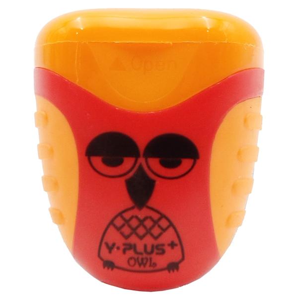 Bộ 2 Chuốt Bút Chì 2 Lỗ Owl Y-PLUS+ - SX1001_OWL - Mẫu 4 - Nắp Màu Cam