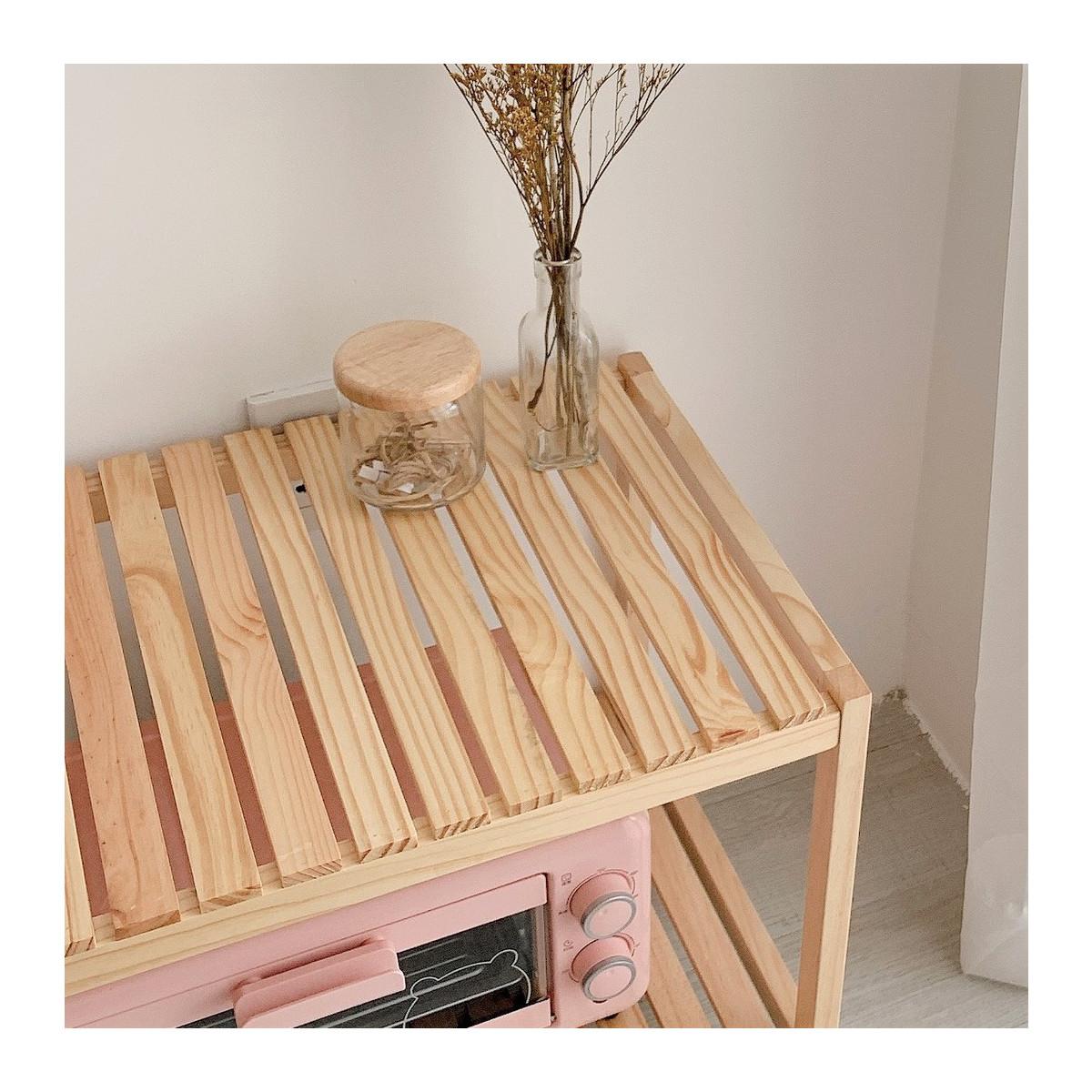 Giá kệ gỗ lò vi sóng Diwali hình chữ nhật 3 tầng đa năng dài 66cm rộng 40cm cao 86cm - Gỗ thông NewZealand - Màu vàng nhạt - Có vân gỗ đẹp