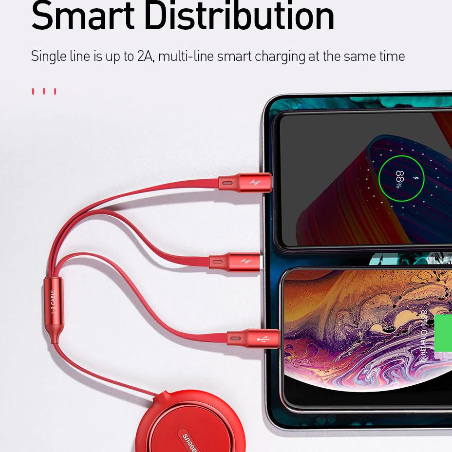 Dây cáp sạc nhanh thu gọn 3 in 1 Lightning / Type-C / Micro USB hiệu Baseus cho iPhone, iPad, Samsung, Huawei, Oppo, Xiaomi (sạc nhanh 3.5A, sạc cùng lúc 3 thiết bị, dây cáp thu gọn, chip sạc thông minh) - Hàng nhập khẩu