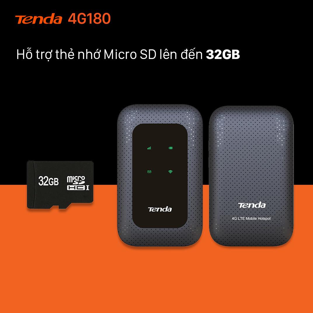 Bộ phát Wifi di động 4G LTE Tenda 4G180 - Hàng Chính Hãng