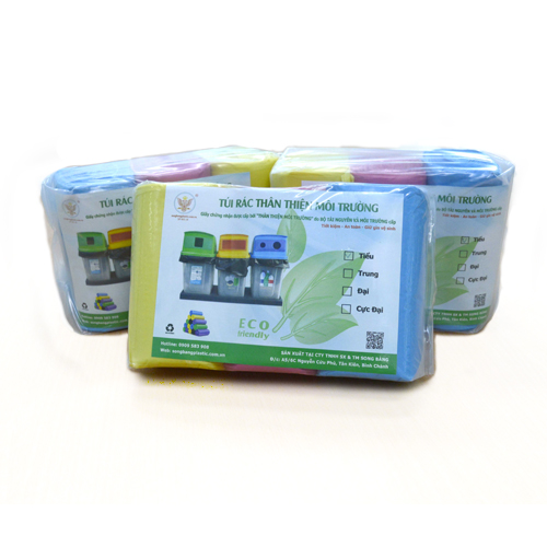 Combo 6 bịch túi rác 3 màu thân thiện môi trường size tiểu (44*55 cm)