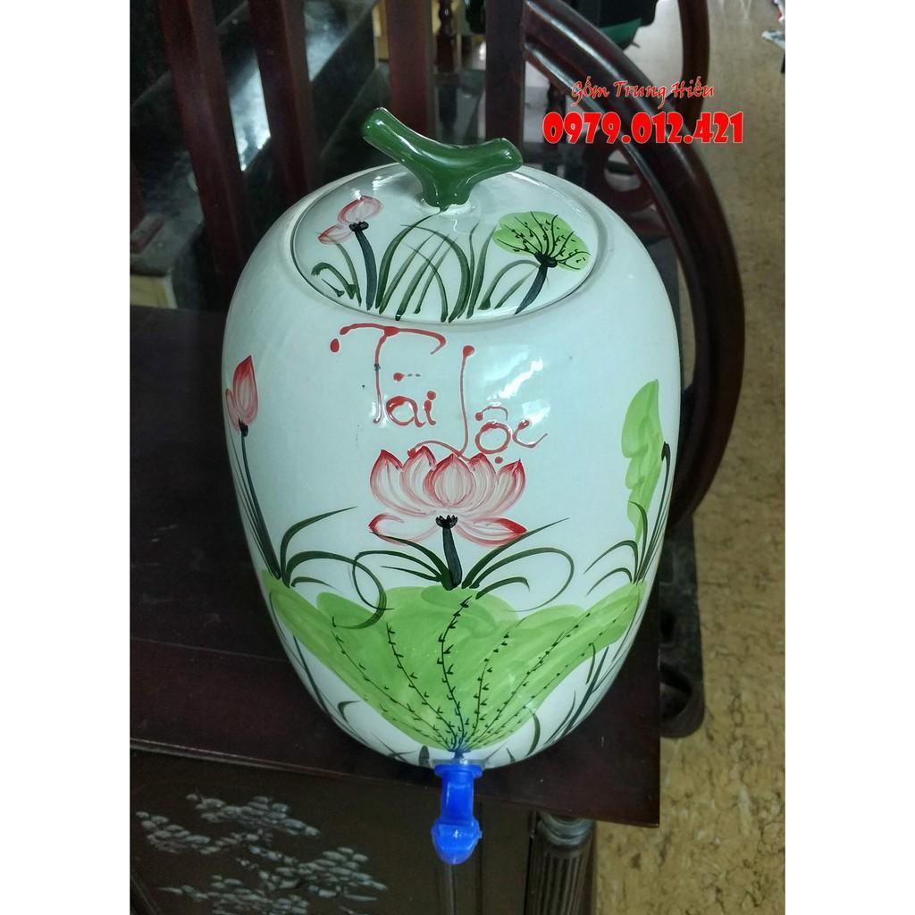 Bình nước tài lộc gốm Bát Tràng 10l vẽ hoa sen
