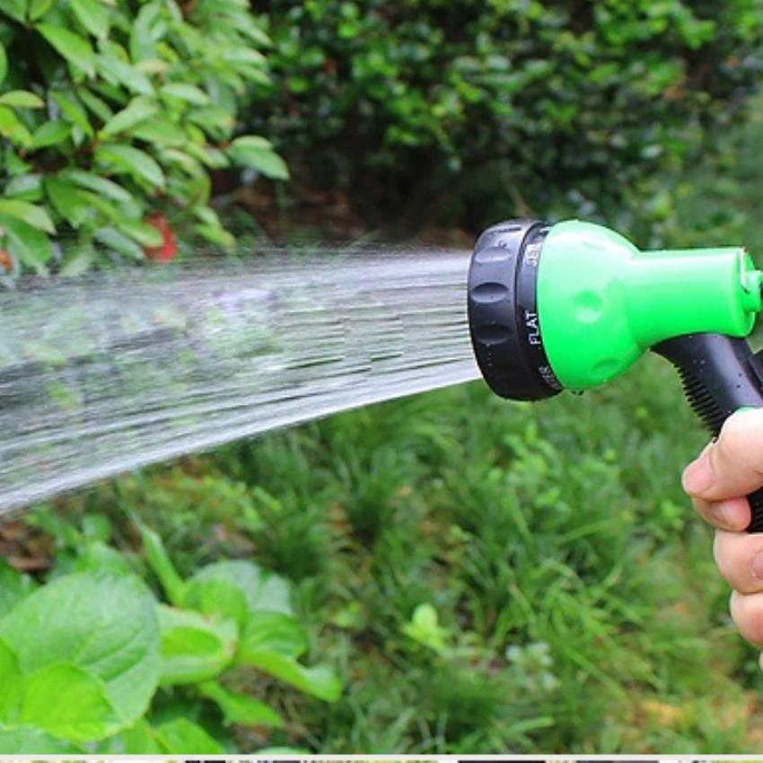 Vòi xịt rửa xe,Vòi phun nước tưới cây tăng áp thông minh 8 chế độ 815576-1 (cút vàng,nối đen - dây xám)
