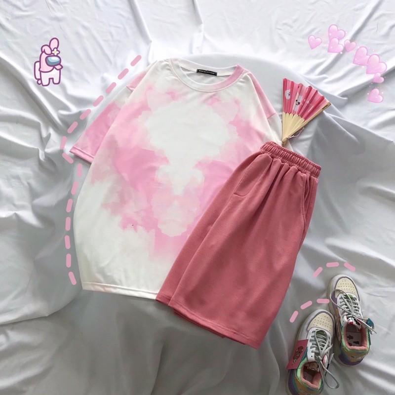 Set bộ áo thun loang màu + short thun