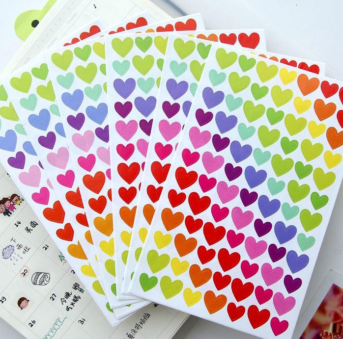 Bộ 6 Tấm Sticker Giấy Trang Trí Hình Trái Tim