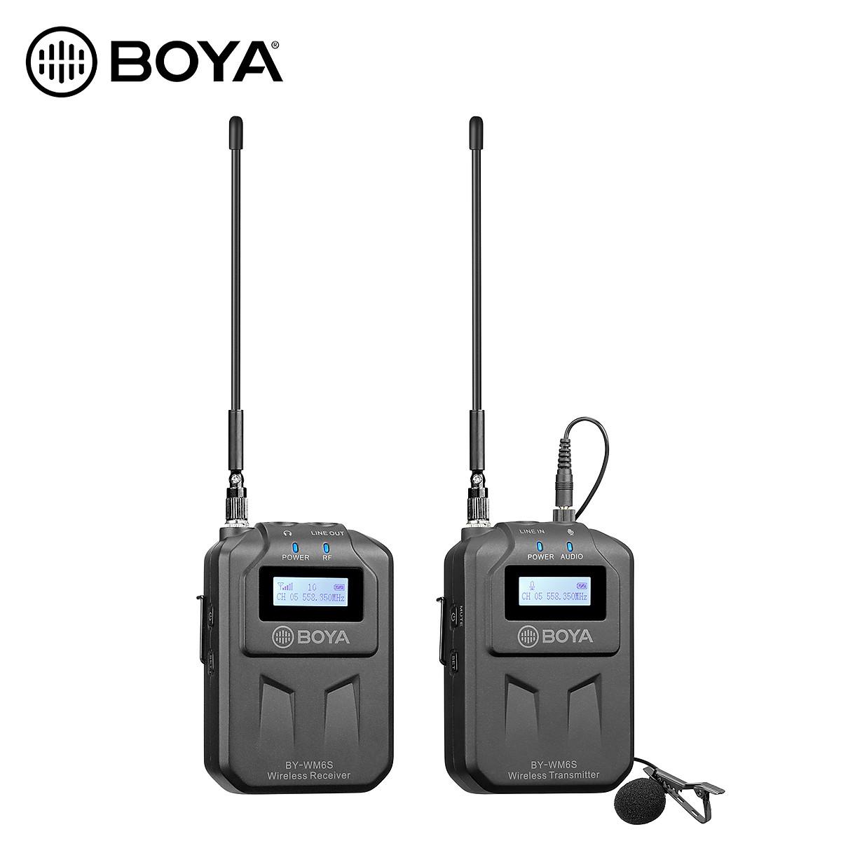 Micro Thu Âm Không Dây Boya BY-WM6S, Micro Cho Điện Thoại, Máy Ảnh, Máy Quay, 48 Kênh Sóng UHF, Phạm Vi Hoạt Động 70m - Hàng chính hãng