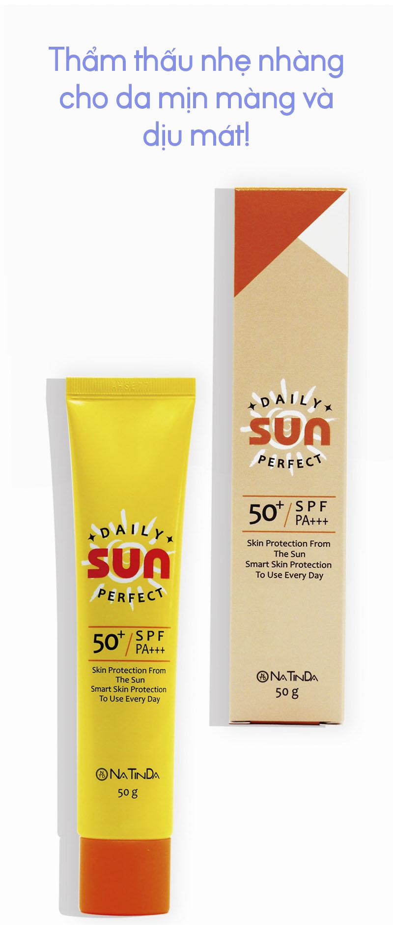 Kem Chống Nắng UVA+ UVB SPF50+PA+++ Natinda Daily Perfect Sun Cream