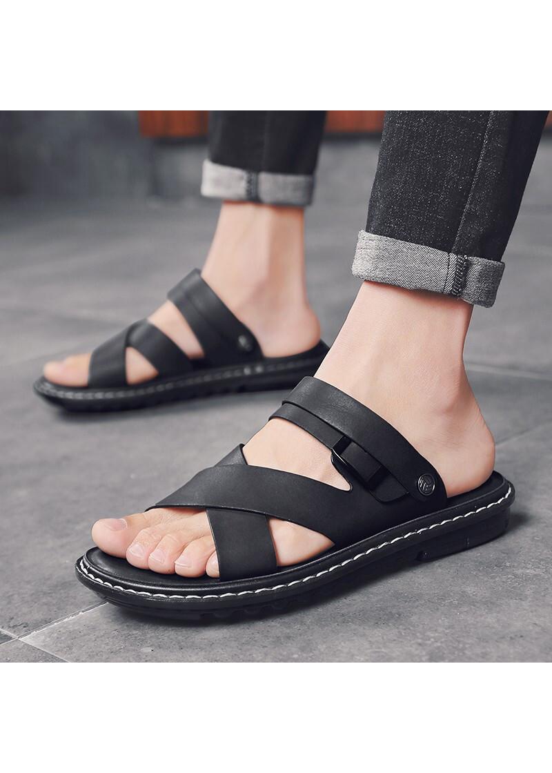 Dép sandal quai hậu da bò nam Udany_ Trẻ Trung Lịch Lãm_ UD240