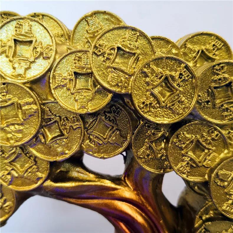 Thác nước phong thủy để bàn kim tiền tài lộc may mắn cây kim tiền thác kim tiền