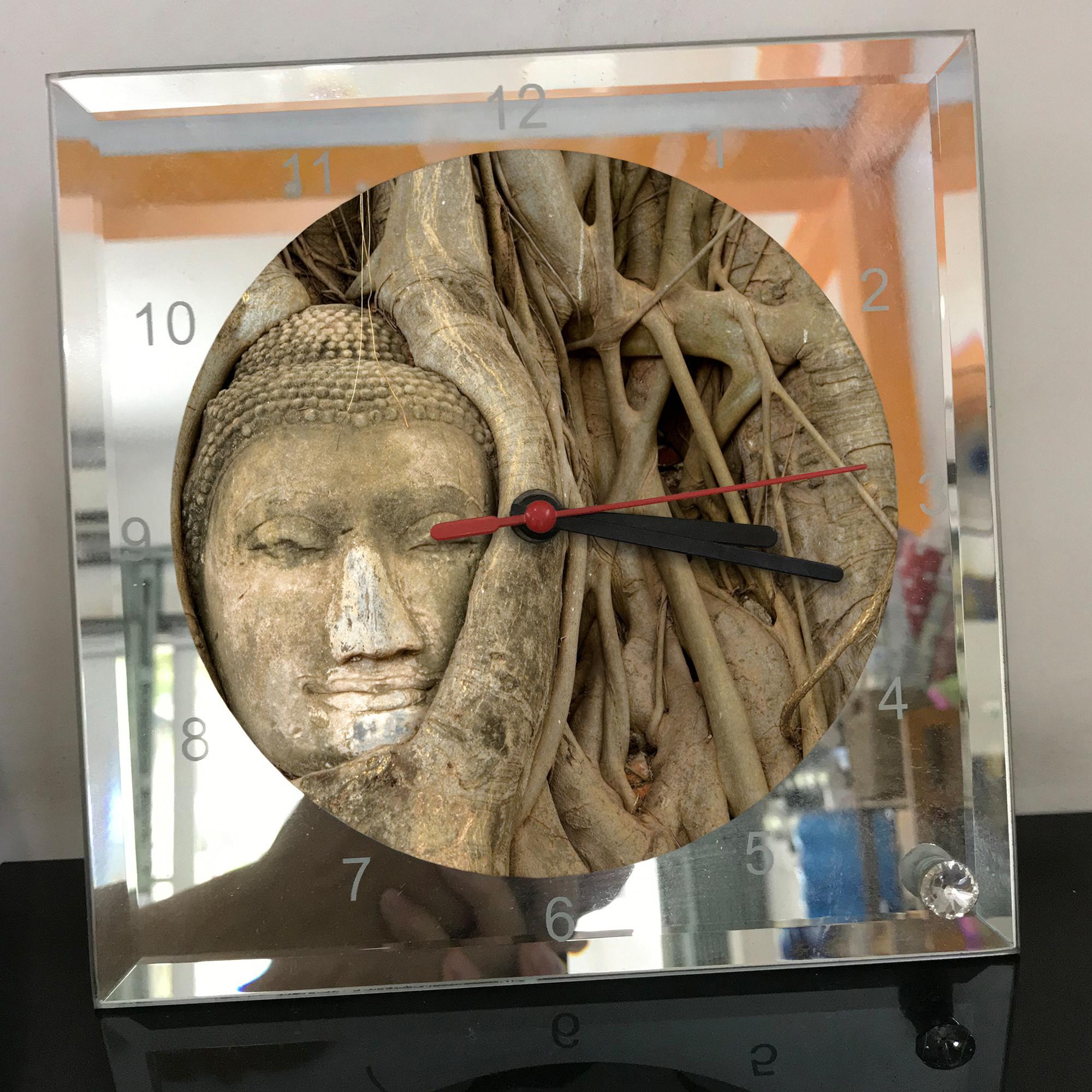 Đồng hồ thủy tinh vuông 20x20 in hình Buddhism - đạo phật (12) . Đồng hồ thủy tinh để bàn trang trí đẹp chủ đề tôn giáo