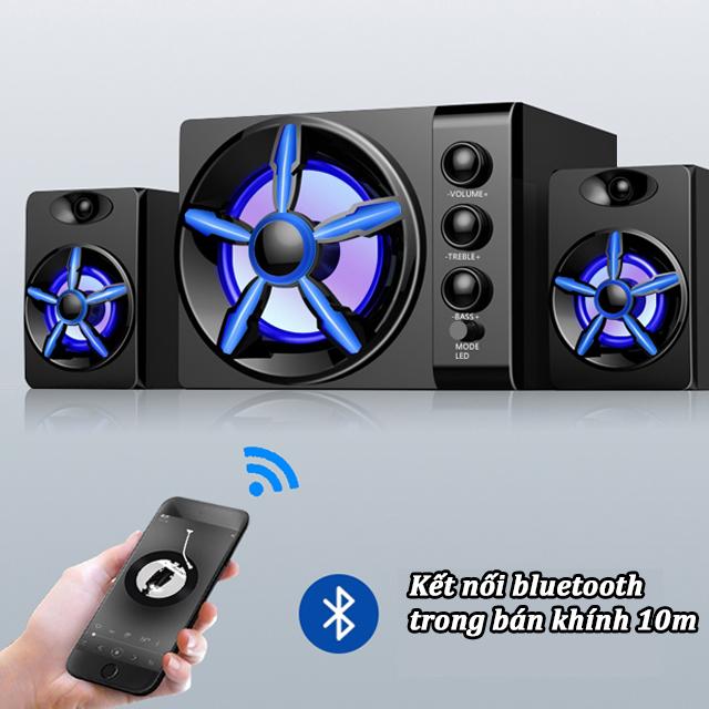 Hàng Chính Hãng - Loa Máy Vi Tính SADA D-215 Vỏ Gỗ, Hỗ Trợ Bluetooth 5.0, Đèn Led 7 Màu, Chống Nước Cao Cấp