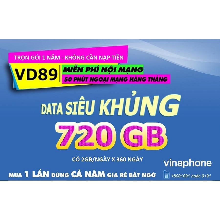 Sim 4G Vinaphone VD89 Nghe Gọi Tặng 720GB Trọn Gói 1 Năm - Miển phí cuộc gọi 1 Năm - Hàng Chính Hãng - Màu ngẫu nhiên