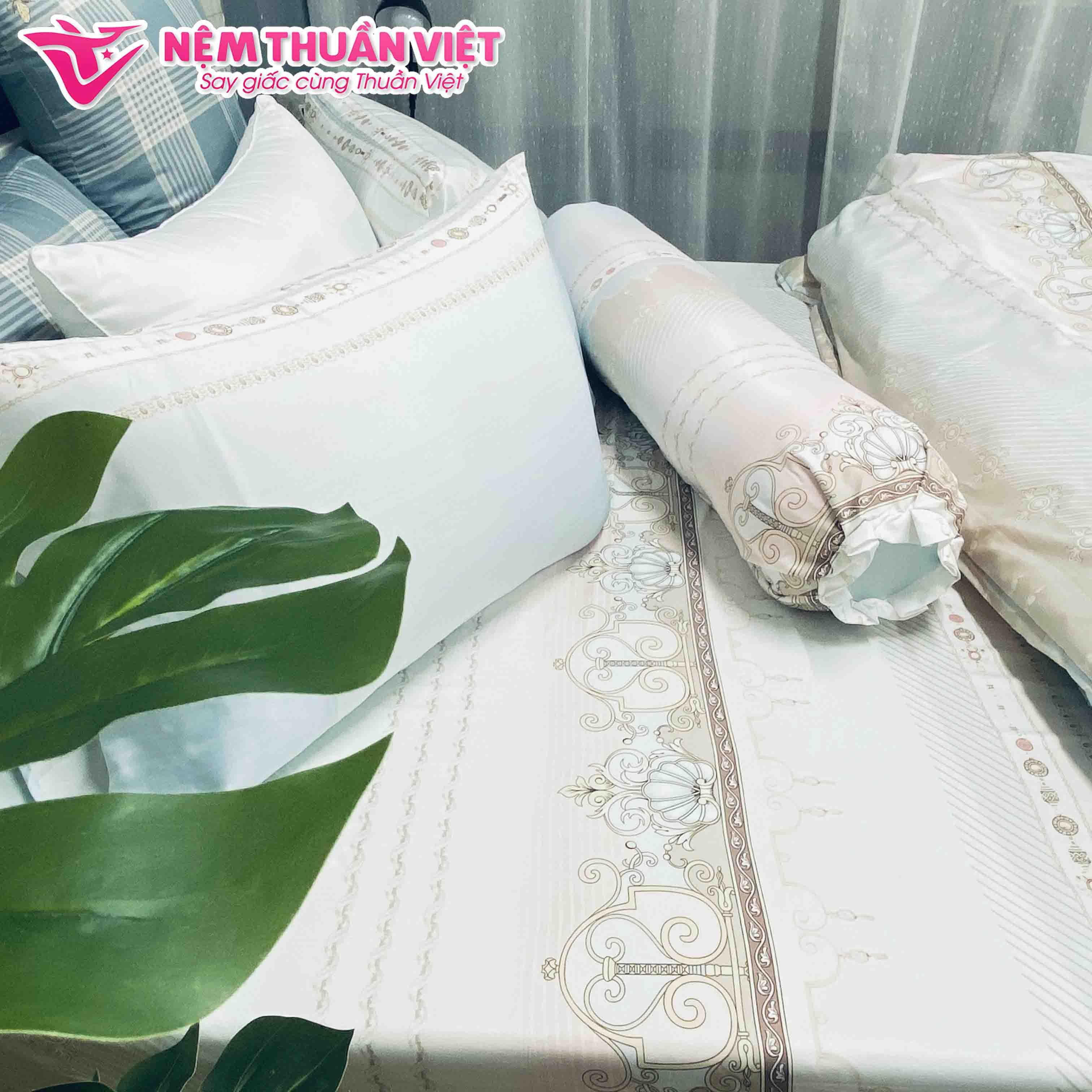 Bộ Ga Mền Cotton Tencel Thuần Việt - Họa tiết cổ điển sang trọng