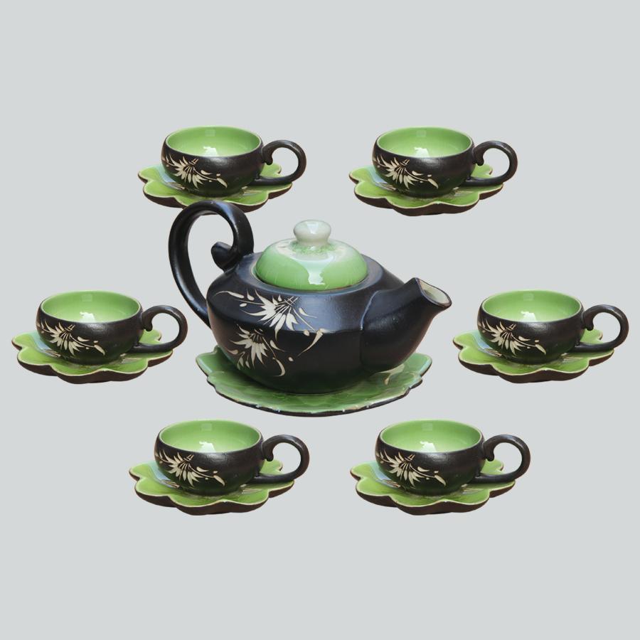 Bộ ấm chén men thủy tinh Hải Âu gốm sứ Bát Tràng (bộ bình uống trà, bình trà)