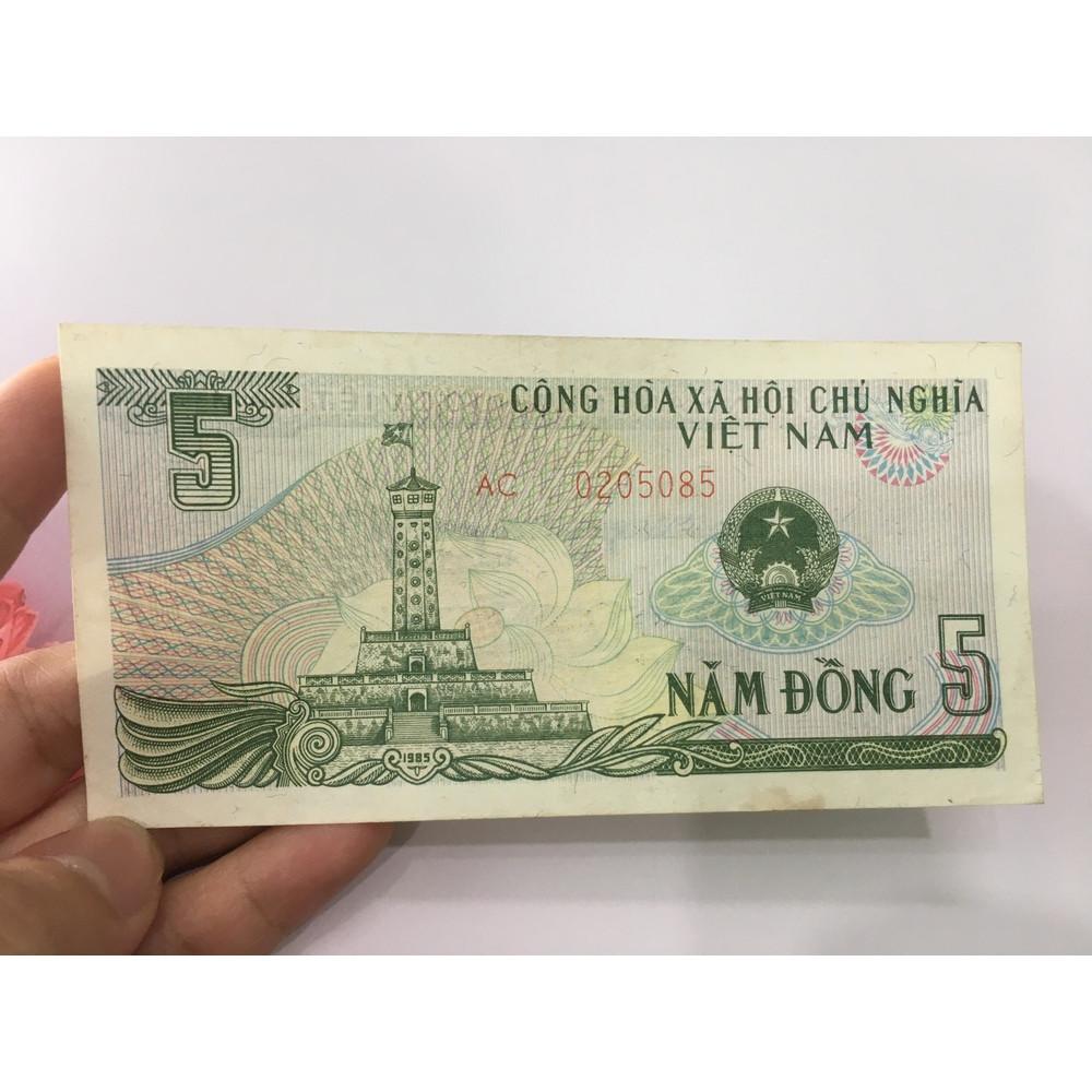 5 đồng 1985 cột cờ Hà Nội, chất lượng đẹp, tặng phơi nylon bảo vệ