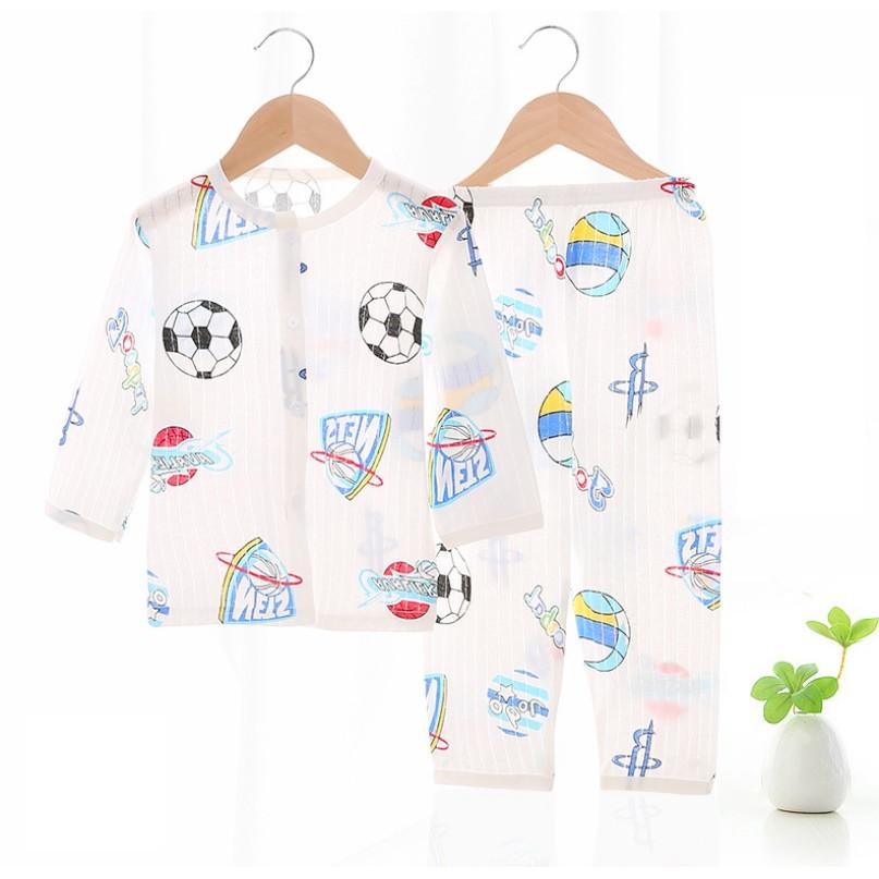 Bộ đồ ngủ cho bé trai từ 0-2 tuổi - Quần áo dài tay, vải mát nhẹ (DNBT001)