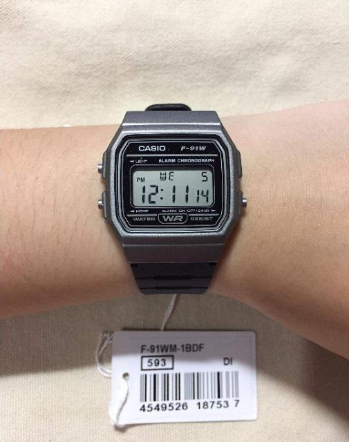 Đồng hồ unisex dây nhựa Casio F-91WM-1BDF
