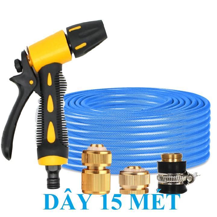 Bộ dây vòi xịt nước rửa xe, tưới cây . tăng áp 3 lần, loại 15m 206236 đầu đồng, cút đồng+ tặng mở chai
