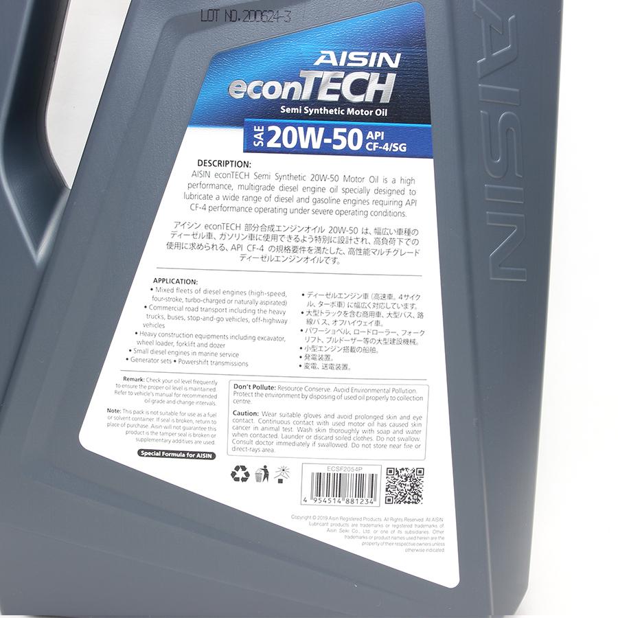 Nhớt động cơ AISIN ECSF2054P 20W-50 CF4 / SG econTECH+ Semi Synthetic 4L