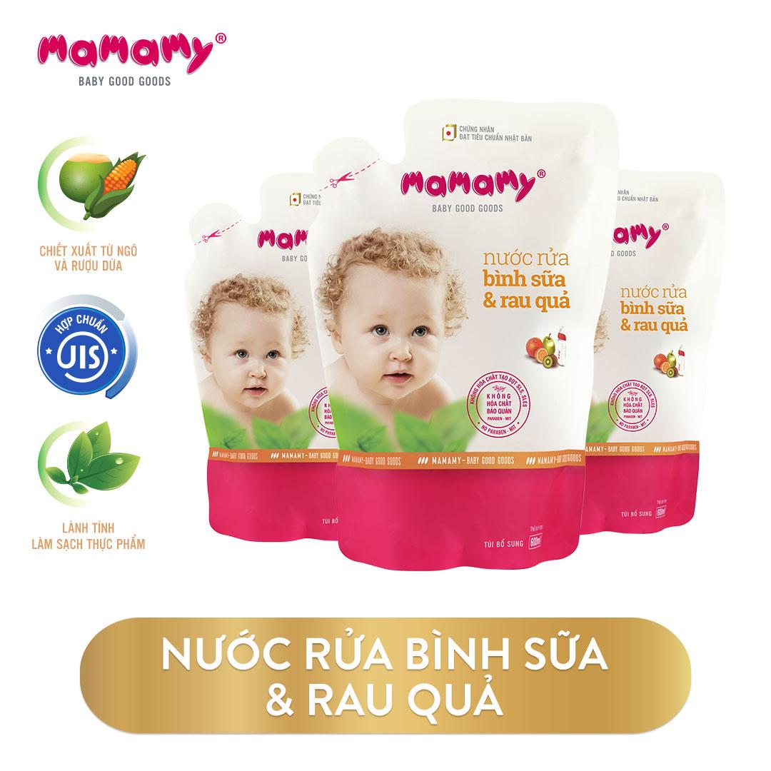 Combo 3 Túi bổ sung Nước rửa bình sữa & rau quả Mamamy 600ml/túi