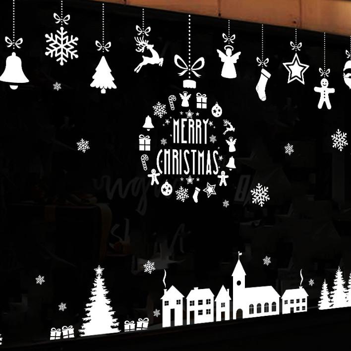 Tuyết trắng Noel - Decal hình dán 2 mặt dán kính gương trang trí