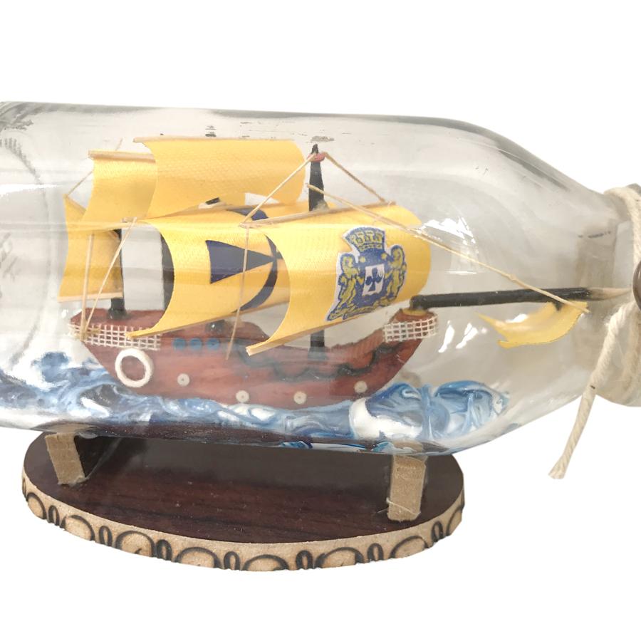 Mô hình thuyền gỗ trong chai thủy tinh kèm tiểu cảnh N2