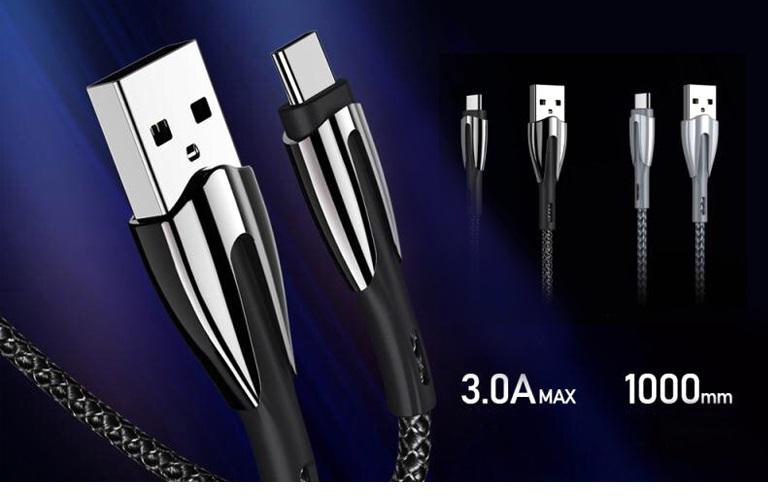 Cáp xạc cao cấp Remax 162a, hỗ trợ xạc nhanh 3 A, USB type C, chất lượng cao dành cho điện thoại Samsung Galaxy/Note, Oppo, Huawei, Xiaomi ..- Hàng chính hãng