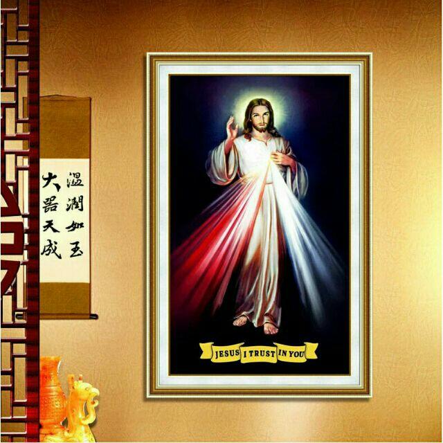 Tranh đính đá Lòng thương xót của chúa  (60×95cm ) đính toàn bộ kể cả nền