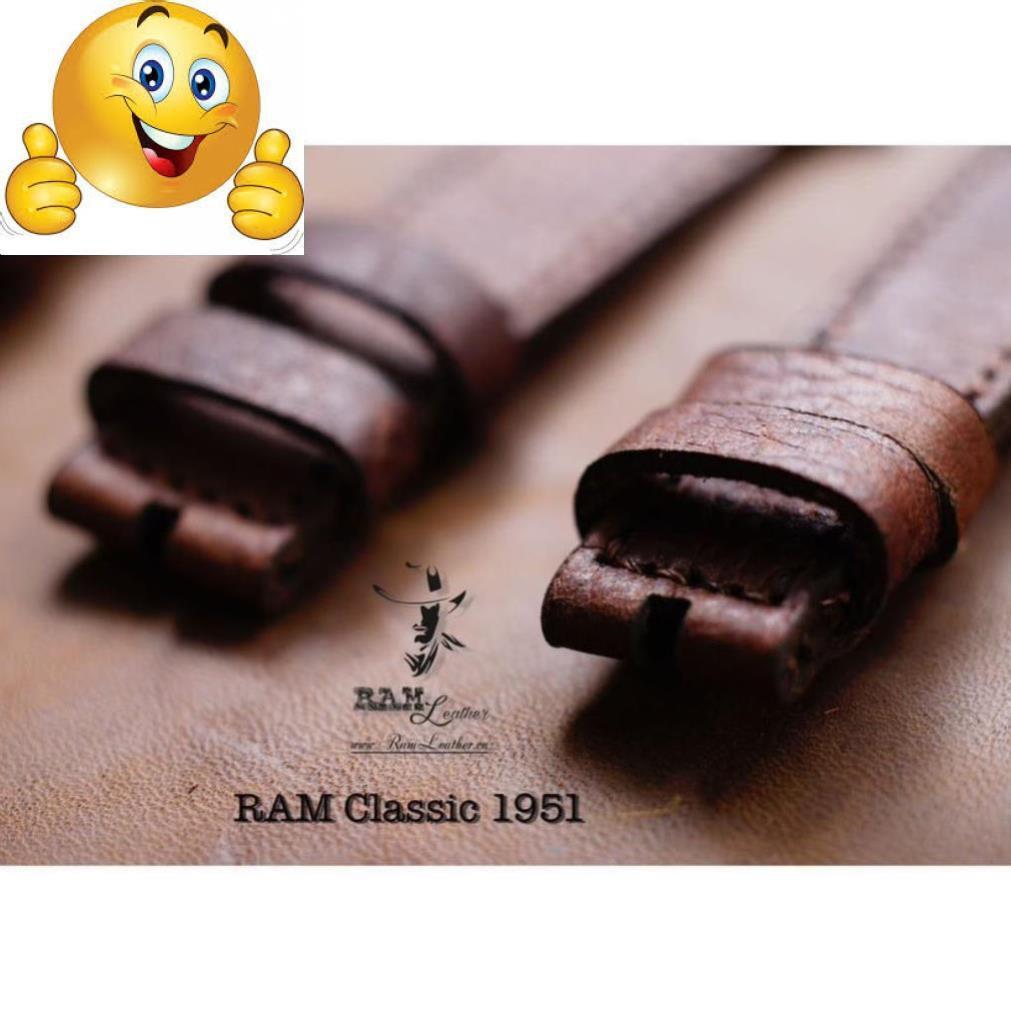 TẶNG BỘ 3 PHỤ KIỆN - DÂY ĐỒNG HỒ DA BÒ NÂU MẬN - RAM CLASSIC 1951 .