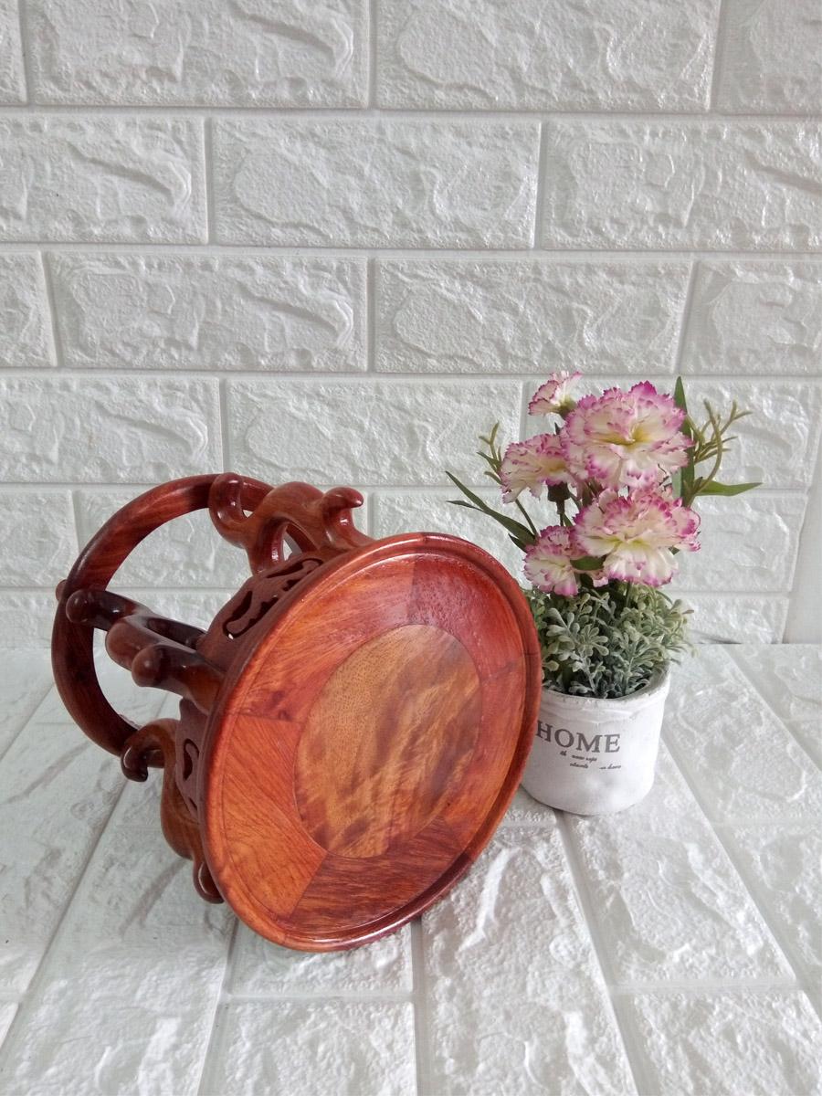 Kệ tròn kiểu cổ Gỗ Hương Ta Đỏ 18cm mặt lòng trong đôn 16cm - KTG18