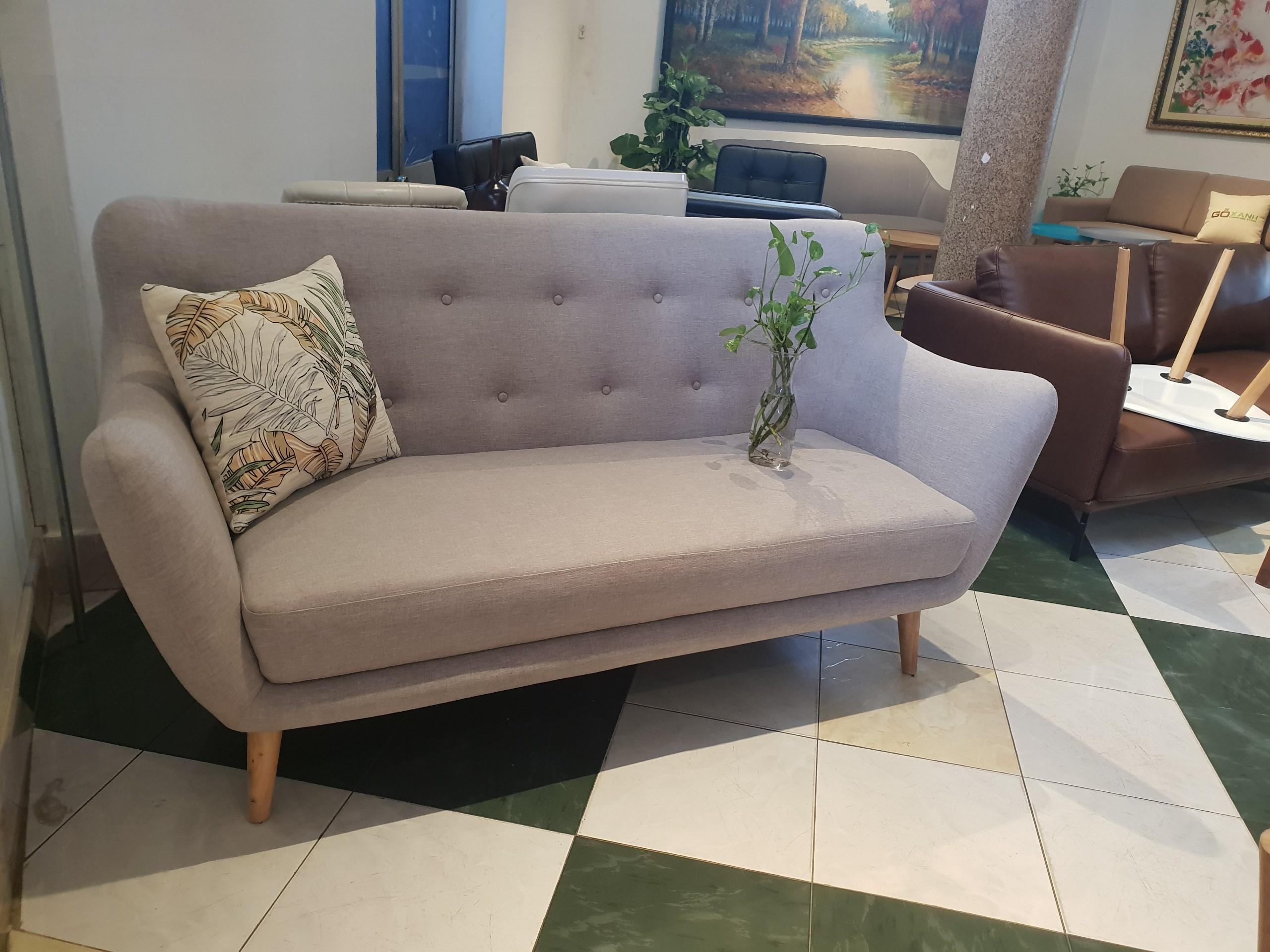 Ghế sofa băng vải mini cho chung cư - Bọc vải màu xám trắng