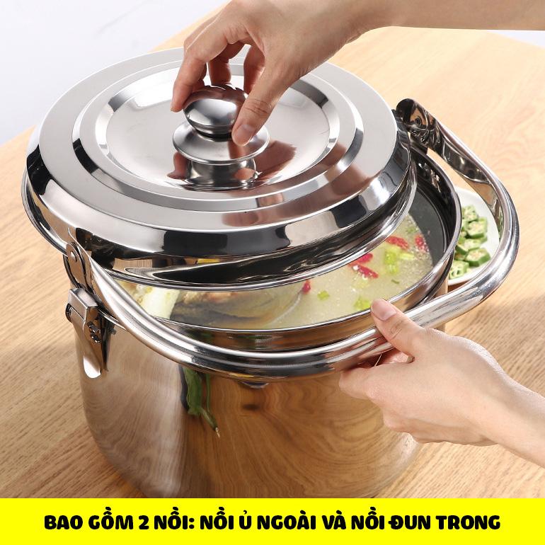 Nồi ủ nhiệt chân không đế gang 6.8L BG304 kho cá hầm xương luộc gà cho bếp ga bếp từ bếp hồng ngoại