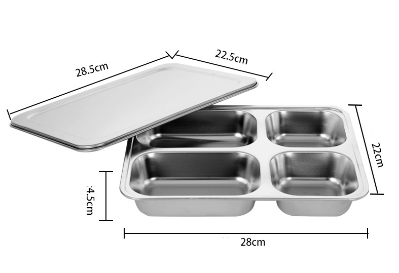 Khay đựng cơm inox (có nắp inox)  - 28x22x4.5cm