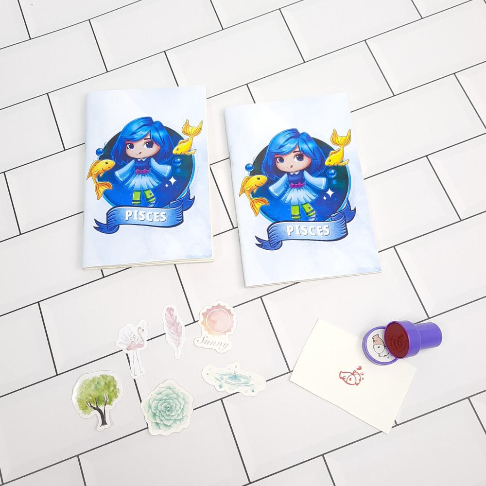 Bộ Sưu Tập Cá Tính Cung Hoàng Đạo Gồm 2 Sổ Tay Và 1 Con Dấu Tặng Kèm 6 Sticker Mini Mẫu Ngẫu Nhiên - Song Ngư