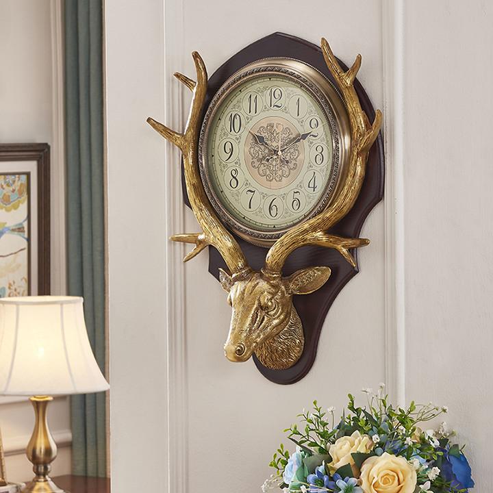 Đồng hồ treo tường trang trí nội thất đầu hươu