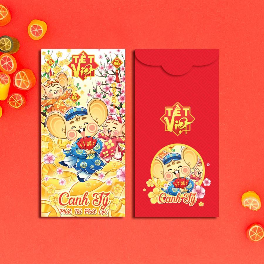 Bao Lì Xì Huỳnh Gia Phát  -  combo bộ 4 mẫu Tết Canh Tý  -  Bao Lì Xì  Việt - Bao Lì Xì Tết - Tết Canh Tý - Chúc Xuân - Tết Việt