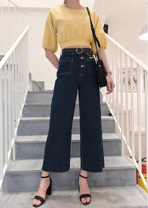 Quần Jeans Lửng Nữ Ống Rộng Hai Túi Trước Thời Trang
