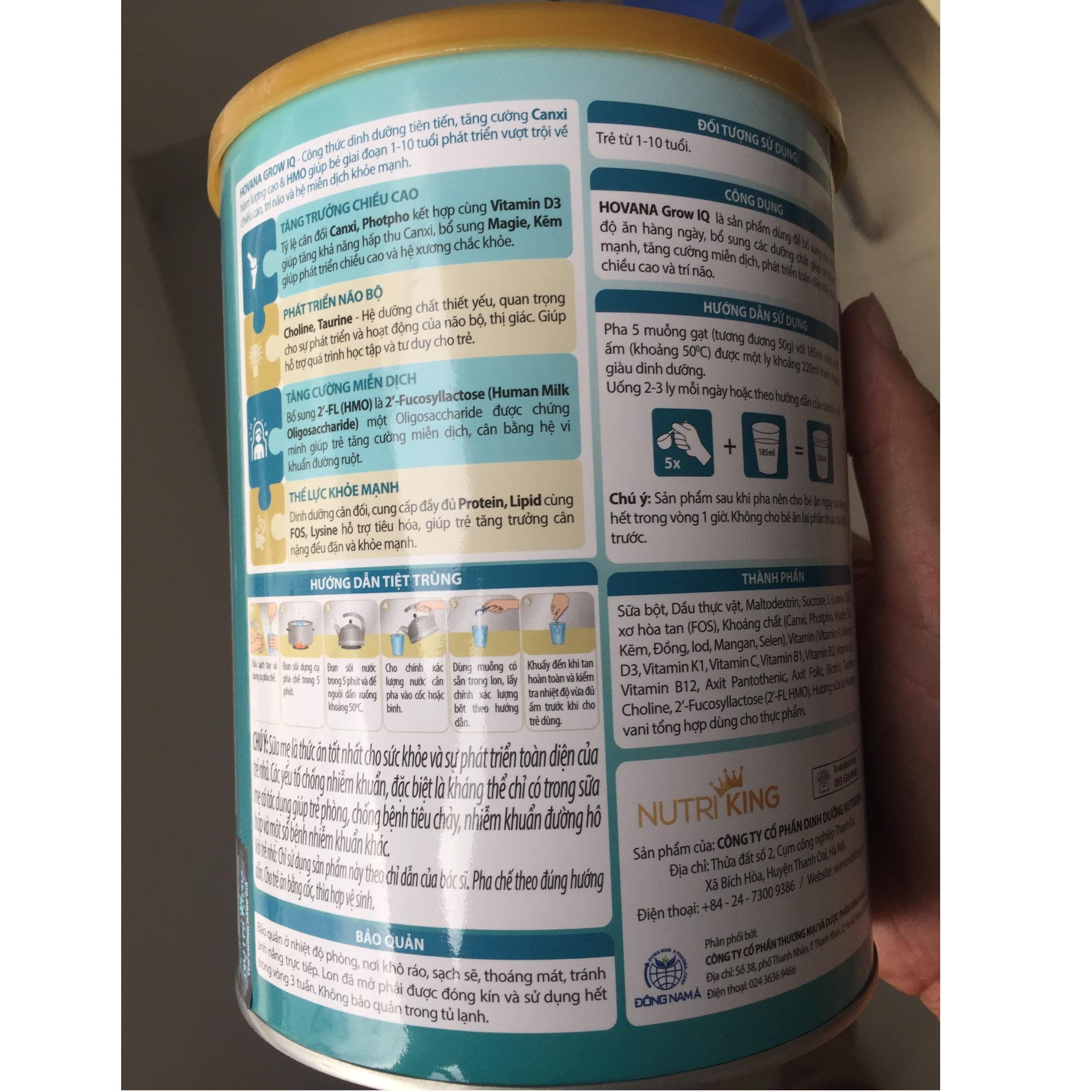 Bộ 2 Lon Sữa Bột Hovana Grow IQ 900gr Hỗ trợ tiêu hóa tốt, tăng miễn dịch, tăng cân tự nhiên cho bé 1 đến 10 tuổi