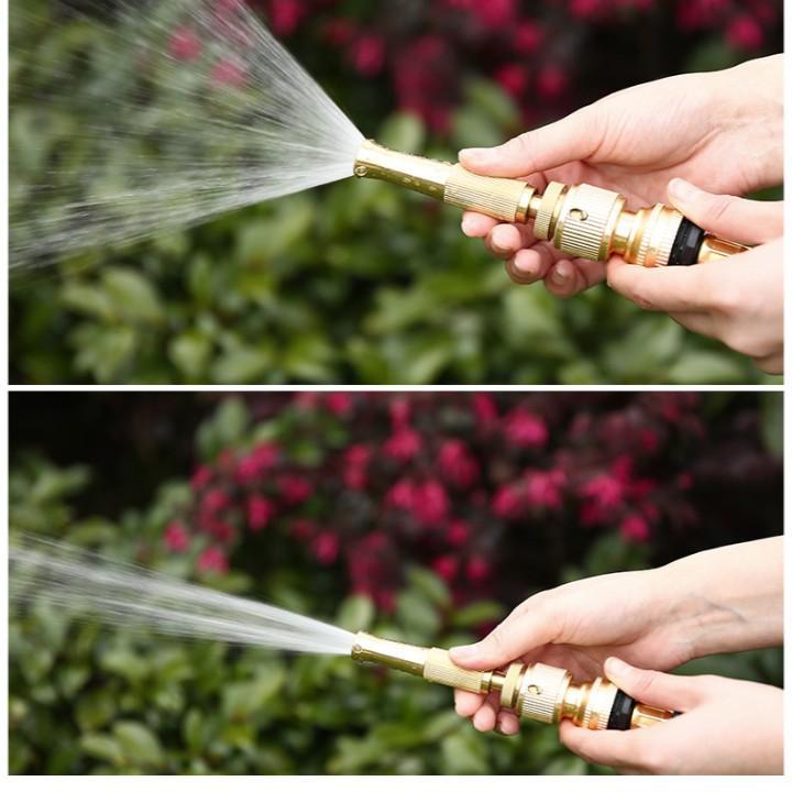 Bộ dây vòi xịt nước rửa xe, tưới cây đa năng, tăng áp 3 lần, loại 7m, 10m 206587đầu đồng,cút đồng, + tặng túi đựng bút